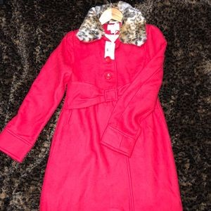 "Kate Spade Girls ""Faux Fur Collar Coat"" size 14Y"